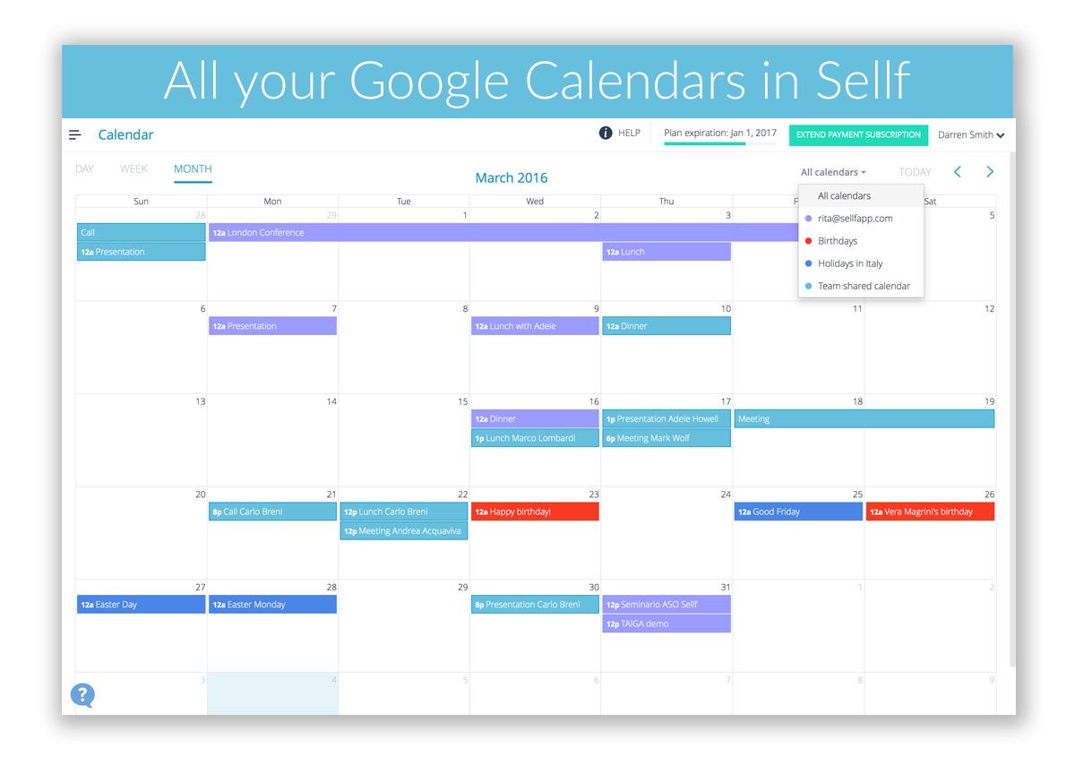 Google Calendars on Sellf for Web