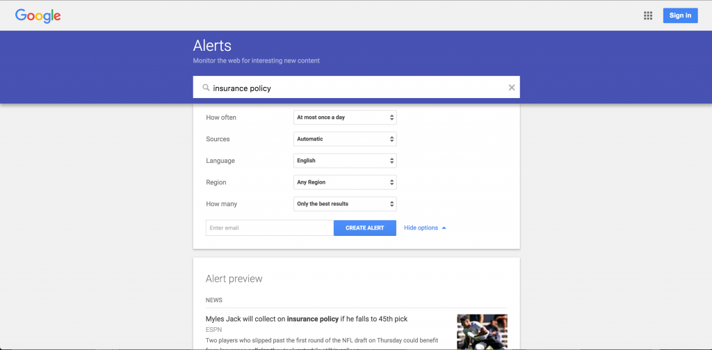google alerts for insurance agents screenshot