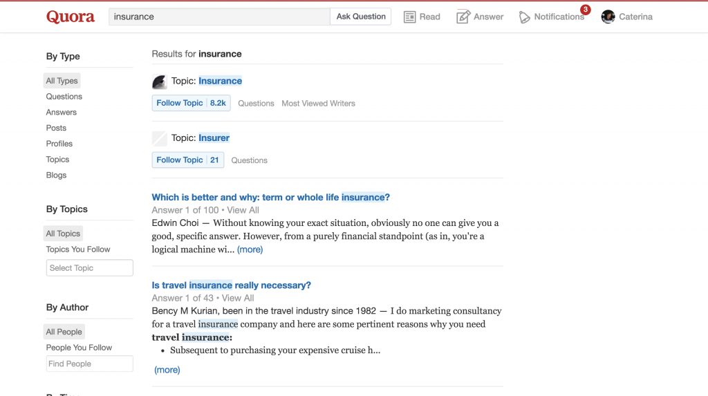 Quora for insurance agents screenshot