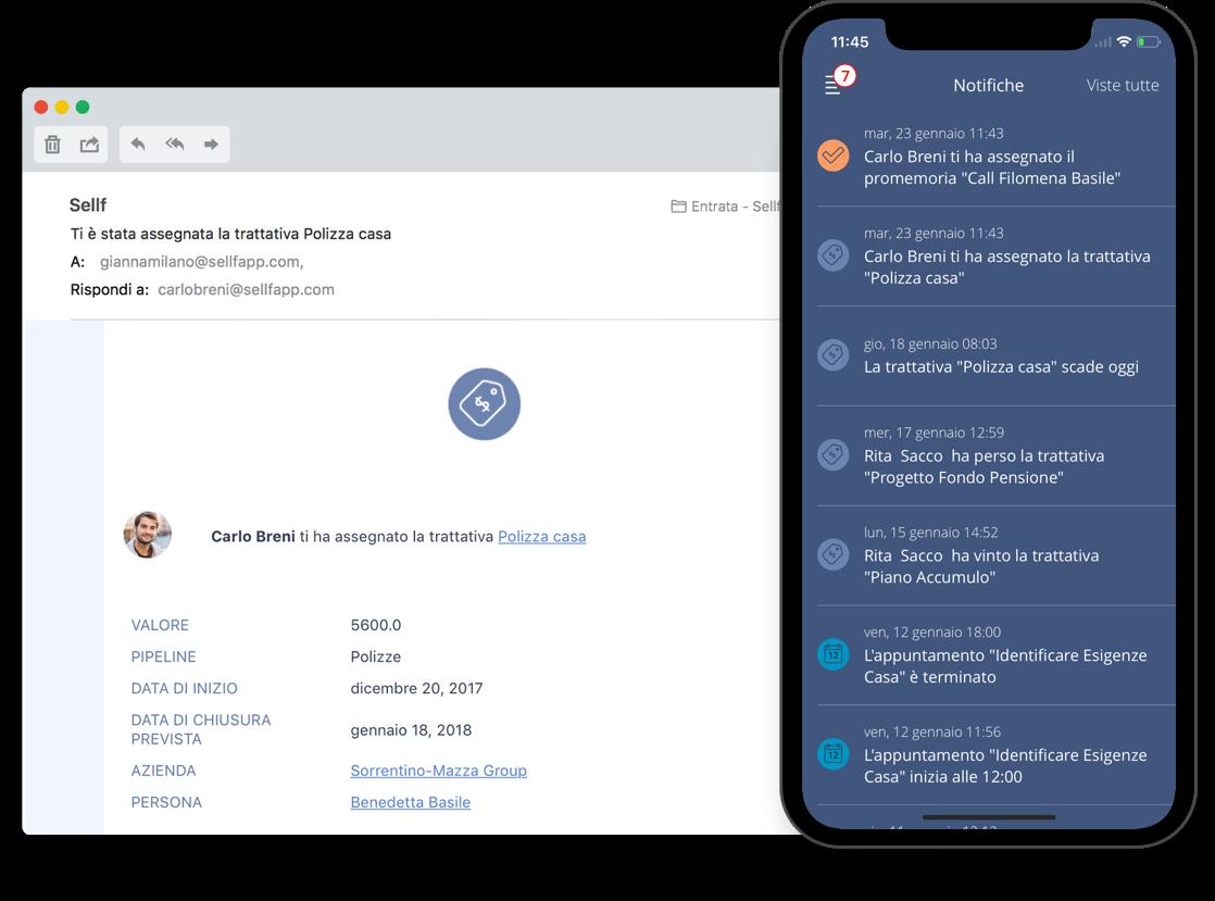 Notifiche email e push