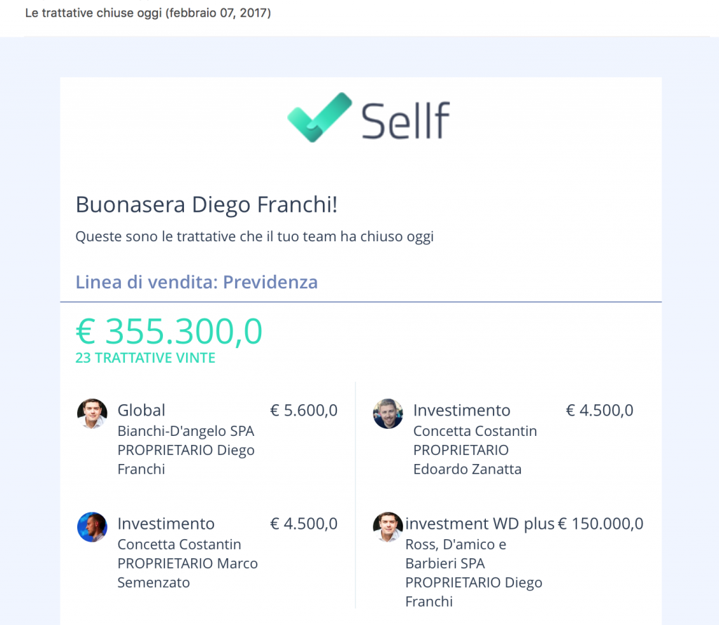 Sellf CRM Mobile Notifiche Email