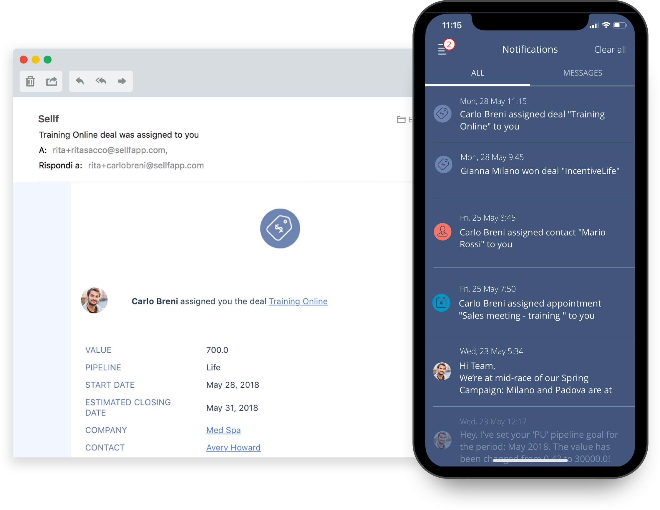 Push and email notifications