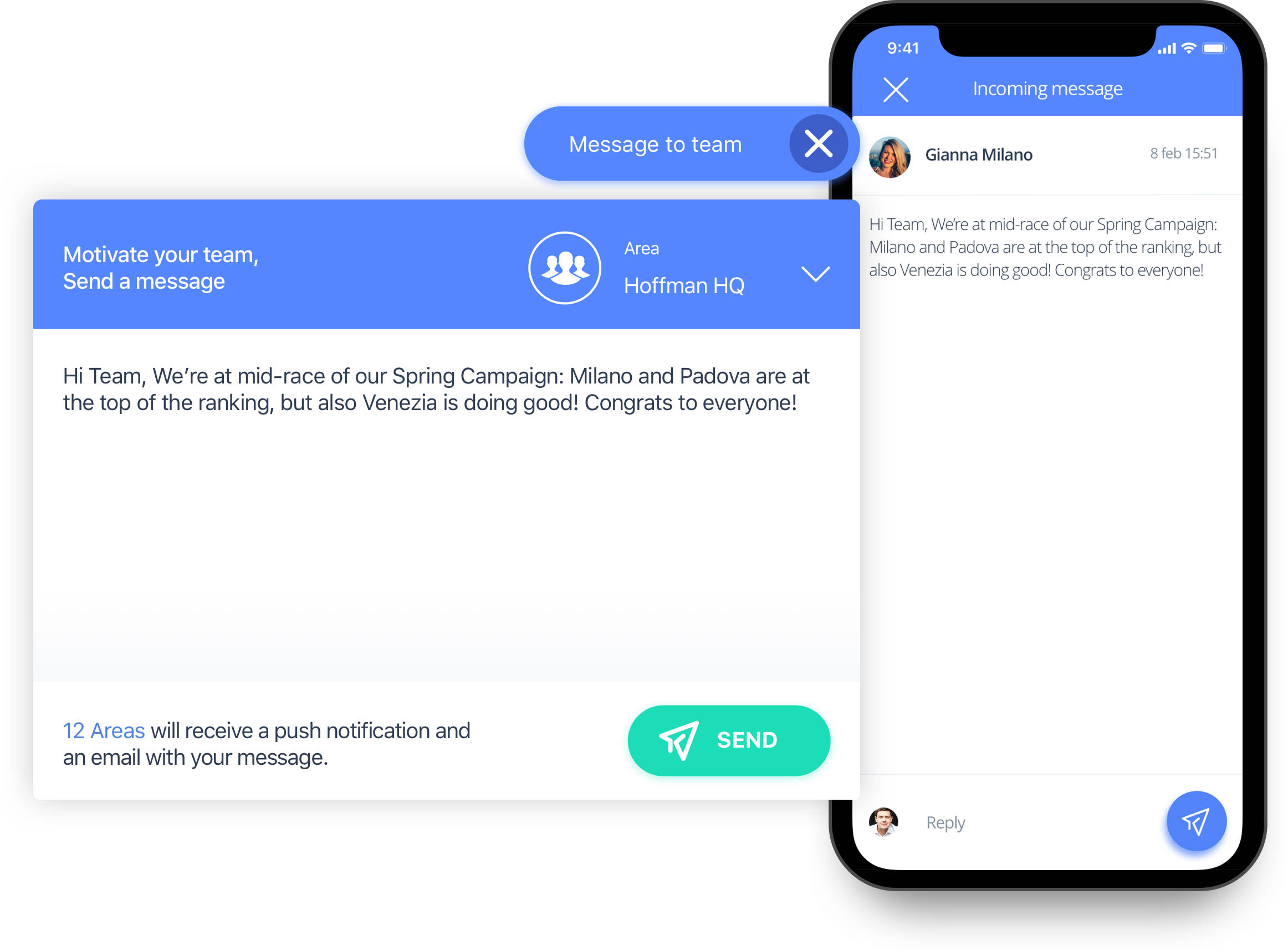 Send messages to your team